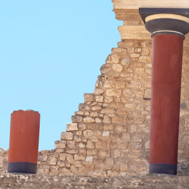 Woman listening to audio tours in Knossos